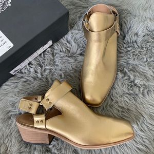 Anthropologie Silent D Lissas Gold Western Booties